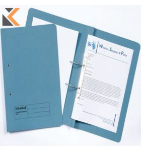 Guildhall Blue Foolscap Spring Pocket Transfer Files 315gsm - [Box of 25]