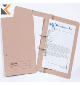 Guildhall Buff F/Scap Super Heavyweight Spring Pocket Files Transfer - [Box of 25]