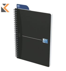 Oxford Office Essentials Soft Card A5 Twin-wire N/Bk 5mm Square Ruled [180 Ps] Blk