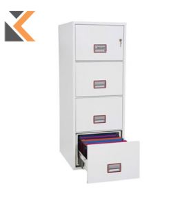 Phoenix Excel Vertical Fire Proof Filing Cabinet White 4-Drawer