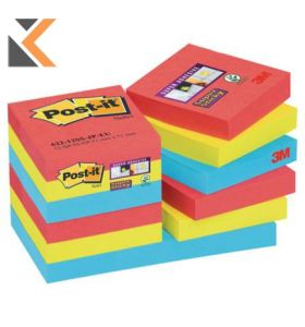 Post It Super Sticky Bora Bora 48X48mm Notes - [Pack of 12]