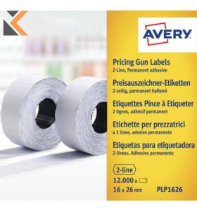 Avery PLP1626 Pricing Gun, 26 x 16 mm, Permanent, Per Pack - [1200 Labels]