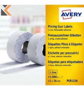 Avery PLR1226 Pricing Gun, 26 x 12 mm, Removable - [1500 Labels] Per Pack