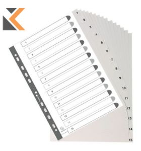 Exacompta PP Printed Indices, A4 White - [15 Part 1-15]