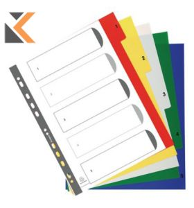 Exacompta PP Printed Indices, A4 Maxi White With Coloured Tabs - [5 Part 1-5]