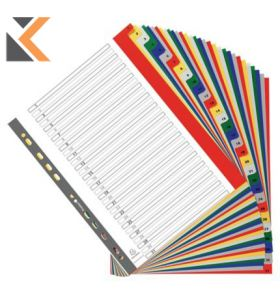 Exacompta PP Printed Indices, A4 Maxi,  White With Coloured Tabs - [20 Part A-Z]