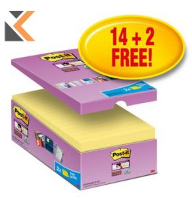 Post-It Super Sticky Value Pack Notes Yellow Pk16 - [76X127mm]