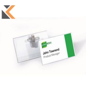 Durable Name Badge With Combi Clip 40X75mm Transparent - [Pack of 50]