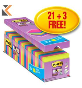 Post-It Super Sticky Notes Asst - Pack Of 24 - [76x76mm]