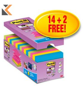 Post-It Super Sticky Z Notes 76 X 76 - Assorted [Pack of 16]