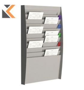 Paperflow Wall Display Rack 20 Grey Compartments