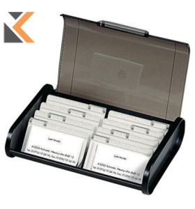 Exacompta Office Business Card Cassette Black/Grey Translucent - [180X245X60mm]