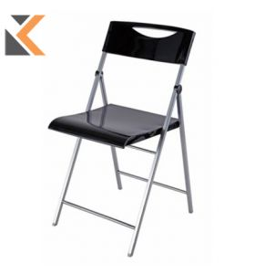 Alba Smile Black Folding Chair - [Pack of 2]