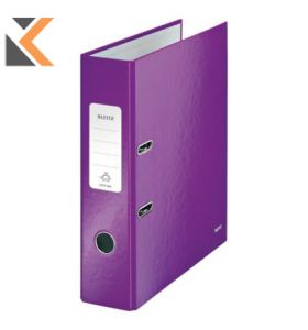 Leitz 180° Wow Laminated A4 ,  Spine, Lever Arch Purple File - [80mm]