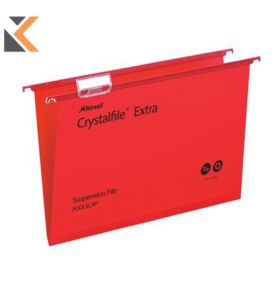 Rexel Crystalfile Foolscap Extra Suspension File 15mm V Base Red - [Pk 25]