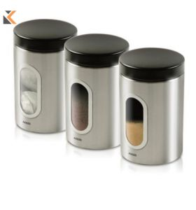 Addis Stainless Steel 900ml Canisters - [Pack of 3]