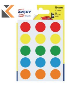 Avery PSA19MX Dot Label Assorted Pack90 - [Dia19mm]