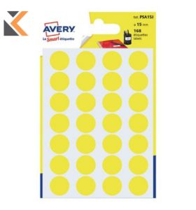 Avery Dot Lab Dia15mm Yellow Pk168 - [PSA15]