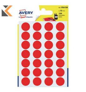 Avery Dot Labels Dia15mm Red Pk168 - [PSA15R]