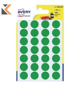 Avery PSA15V Dot Labels Green Pk168 - [Dia15mm]