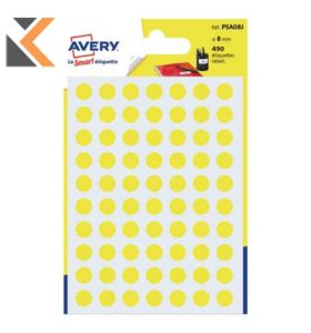 Avery PSA08J Dot Label Yellow Pk490 - [Dia8mm]