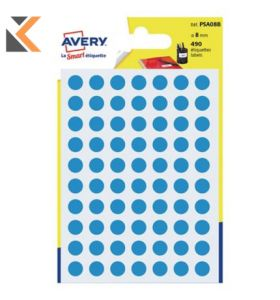 Avery PSA08B Dot Labels Dia8mm Blue - [Pk490]