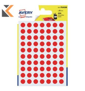 Avery PSA08R Dot Labels Red Pack 490 - [Dia8mm]