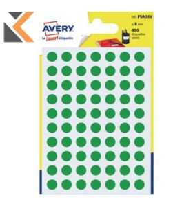 Avery PSA08V Dot Labels Green Pk490 - [Dia8mm]