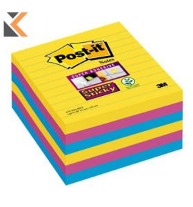 Post-It Super Sticky Notes Lined Rio Asst- Pack Of 6 - [101x101mm]