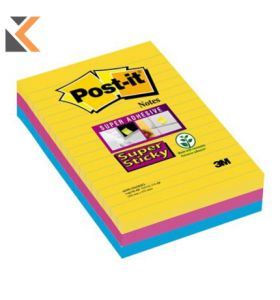 Post-It Super Sticky Notes Lined Rio Asst Pack Of 3 - [101X152mm]