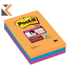Post-It Super Sticky Notes Lined 101X152mm Bangkok Asst - [Pack Of 3]