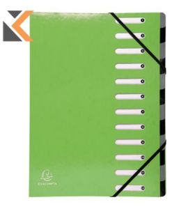 Iderama Harmonika Multipart File, 24.5X32cm, 600gsm , Lime Green - [12 Sections]