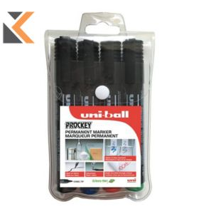 Uni Prockey Pm-126 Chisel Tip Permanent Markers Assorted Colours - [Wallet Of 4]