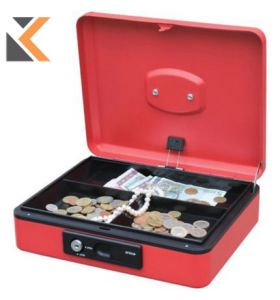 Reskal Cash Box W/Auto Button - [250X180X90mm] Red