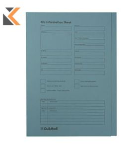 Guildhall Square Cut Folders, Pre-Printed, 35X24.2cm , 315gsm - Blue - [Pack of 100]
