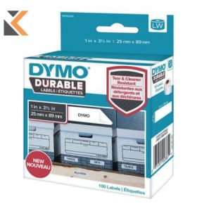 Dymo LW Durable Labels, White Poly, Roll of 100, 25 X 89 mm - [1976200]