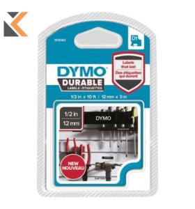 Dymo D1 Durable Labelling Tape, White On Blk, 12mm X 3M, 1 Cartridge - [1978365]