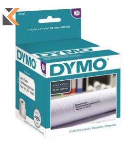 Dymo LW Large Address Labels, 36mm X 89mm, Black Print On White - [2 Rolls of 260]