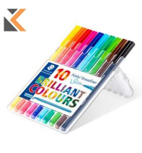 Staedtler-338 Triplus Broadliner Assorted - [Pack of 10]