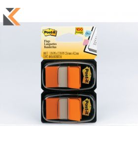 Post-It Index Dual Orange Pack 25 X 44mm - [2 Dispensers of 50]