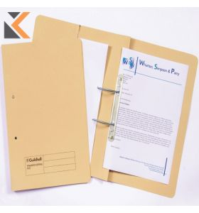Guildhall Yellow Foolscap Spring Pocket 315gsm Transfer Files - [Box of 25]