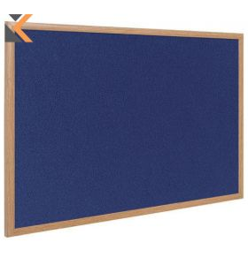 Bi-Office Oak Framed Felt  Blue* Notice Board - [2400 X 1200mm]