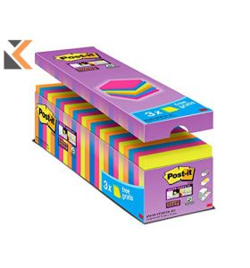 Post-It Super Sticky Notes 76x76mm Asst - [Pack Of 24]