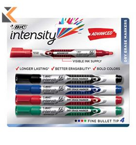 Bic Whiteboard Markers Bullet Tip Assorted Colours - [Pack of 4]