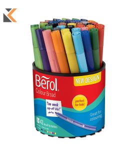 Berol Felt Tip Colouring Markers, Fine Point, Assorted Colours - [Box of 12]