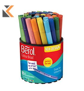 Berol Felt Tip Colouring Markers, Broad, Washable, Assorted Colours - [Box of 12]