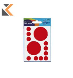 ADHESIVE LABELS 50MM DIA - COMPANY SEAL - RED - [PACK OF 8]