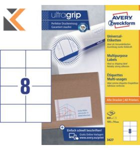 Avery 3427 Multi-Purpose Labels, Permanent, 8 Labels Per Sheet - [105 x 74 mm]