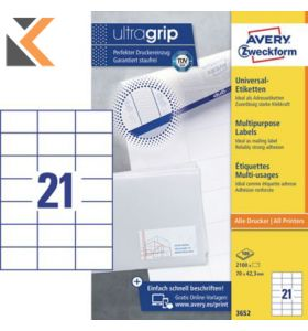 Avery 3652 Multi-Purpose Labels, Permanent, 21 Labels Per Sheet - [70 x 42.3 mm]