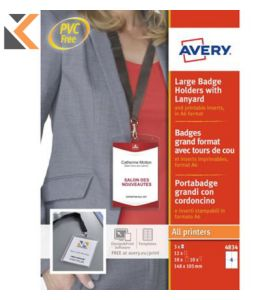 Avery 4834, Badge holders & lanyards, 12 Badges Per Pack - [148 x 105mm]